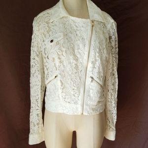 Bebe sheer lace jacket. Zipper pockets